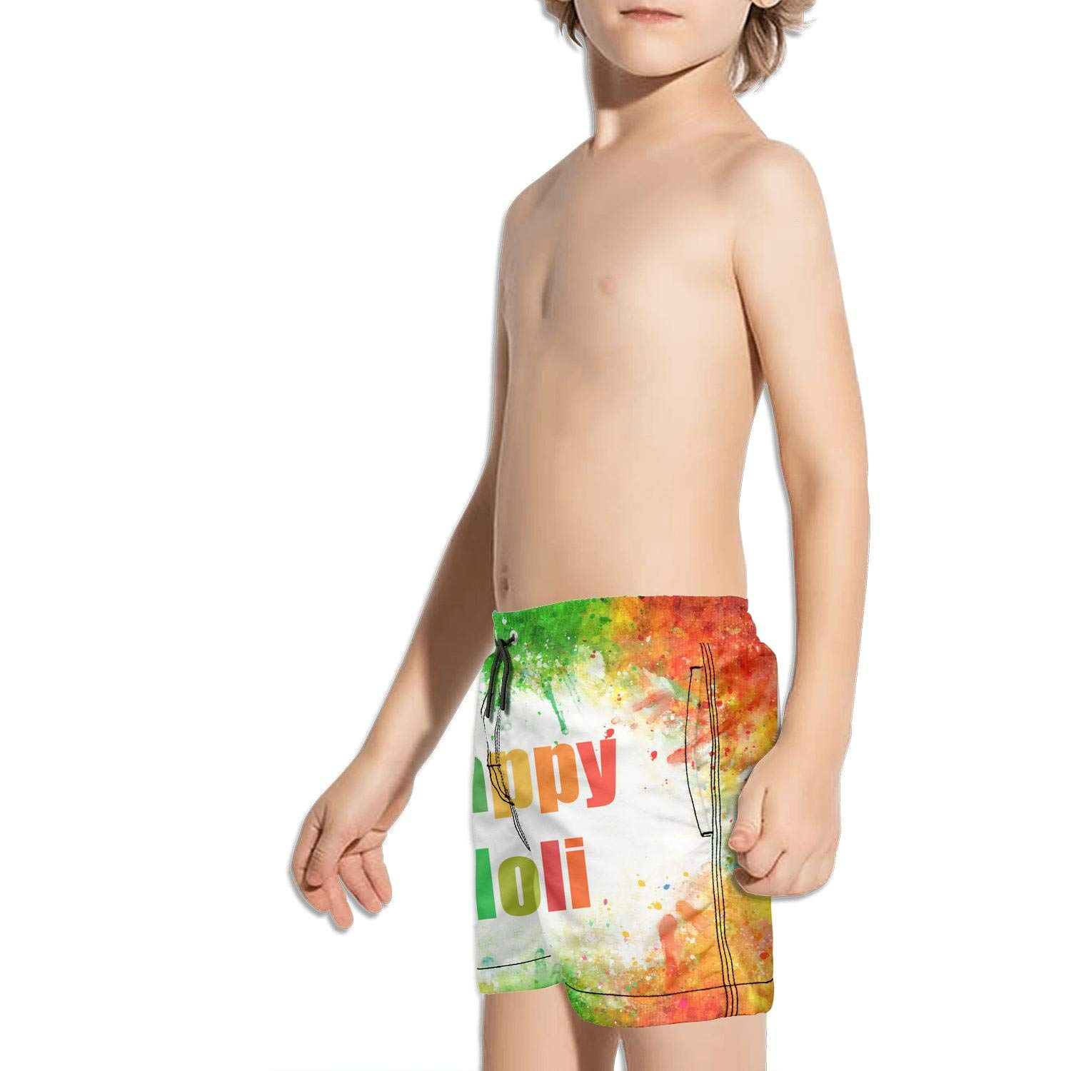 Happy Holi Colorful Background Poster Kids Quick Dry Sporty Vintage Swim Shorts