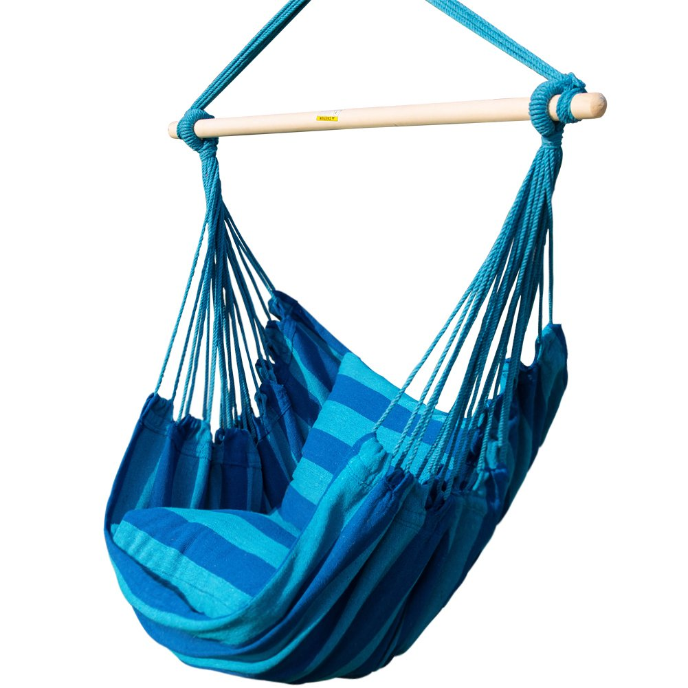 PG PRIME GARDEN Seaside Stripe Soft Comfort Hanging Rope Hammock Chair for Any Indoor or Outdoor Spaces -- Max. 275 Lbs/Seaside Blue Stripe