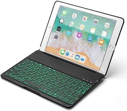 Strnry Teclado Estuche para iPad Air 2 con Teclado Bluetooth Inalámbrico Retroiluminado Cubierta Protectora Delgada De Carcasa Dura De Aleación De Aluminio para Apple iPad Air 2, iPad Pro 9.7,Negro: Amazon.es: Deportes
