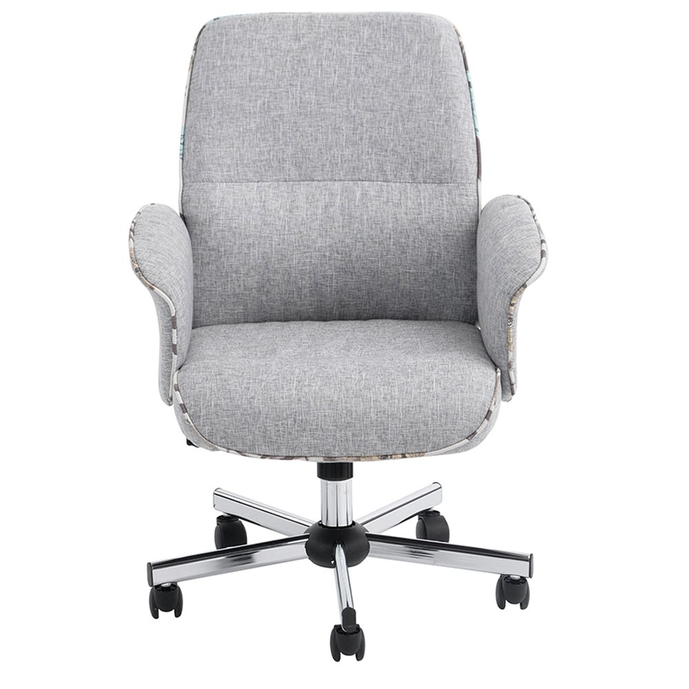 Middle Back Imitation Linen Wear-Resistant Antifouling Office Chair Gray