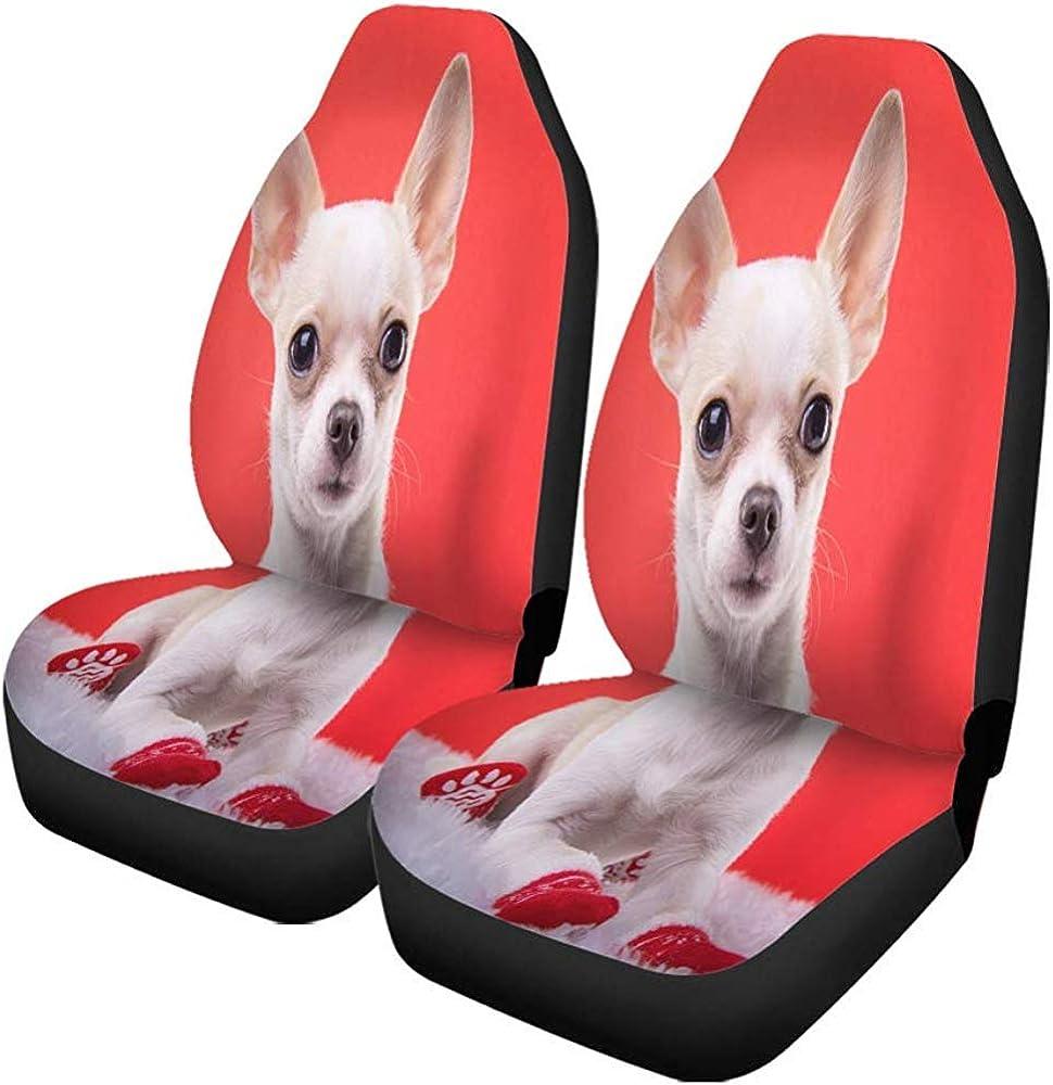 Housses de si/ège de voiture mignon Chihuahua chien Animal Portrait rouge animal dr/ôle universel Auto si/èges avant protecteur