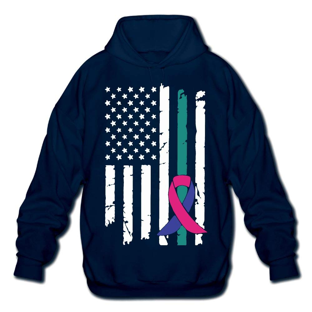 OPQRSTQ-O Thyroid Cancer Awareness USA Flag Mens Printed Hooded Sweatshirt Hoodie