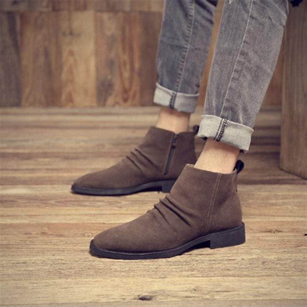 JUFENGYAO Chaussures, Bottines for Hommes Hautes Chaussures à Enfiler Style & SideZipper Mat en Cuir véritable Suédé Rides Rétro Bout Pointu extérieur Solide Couleur Marron