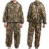 TNWEtory Free Size 3D Woodland Leafy Camo Suit, Hooded Ghillie Suit Outdoor Hunting Army Tactical Camouflage, Wildlife Photography