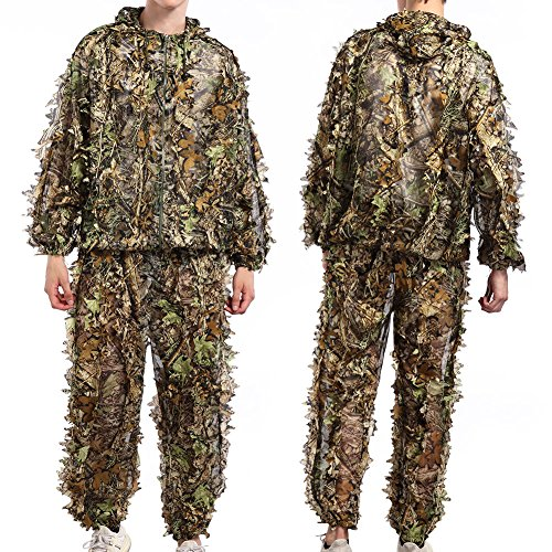 Leafy Camo (TNWEtory Free Size 3D Woodland Leafy Camo Suit, Hooded Ghillie Suit for Outdoor Hunting Army Tactical Camouflage, Wildlife Photography)