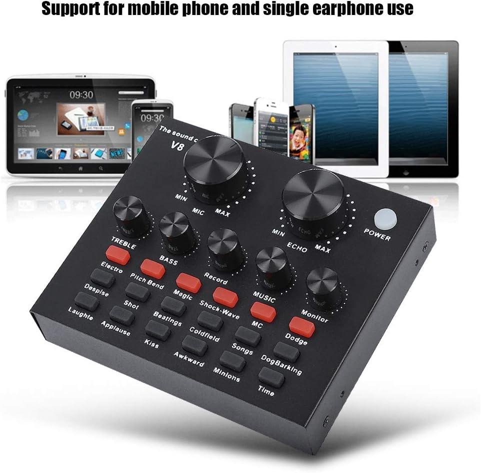 Voice Chat Home KTV etc Zopsc V8 Live Sound Card External Audio Mixer Mobile Computer PC Karaoke Voice Mixer for Live Broadcast Recording