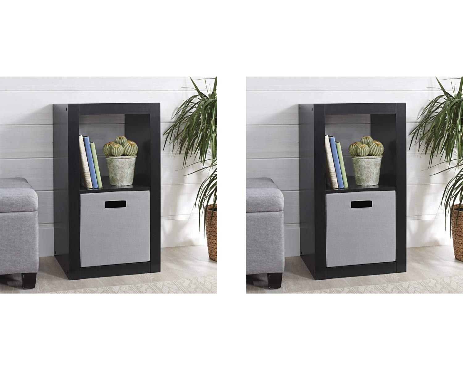 Better Homes and Gardens 2-Cube Organizer, (2 Set, 2-Cube Organizer, Solid Black) by .Better Homes & Gardens (Image #1)