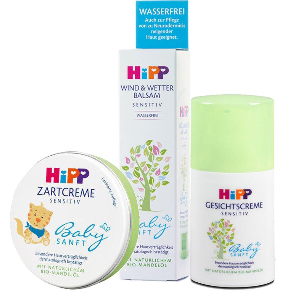 HiPP Sensitive Baby Lotion Set: Gesichtscreme, Wind & Wetter, Zartcreme