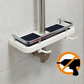 Amazon.com: White Plastic Shower Shelf Caddy, Bathroom Tray Rack ...