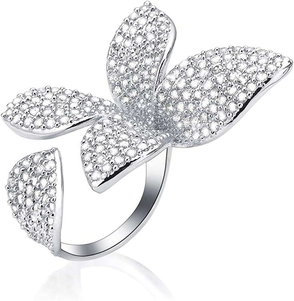 dnswez Two Finger Ring Flower Open Cubic Zirconia Sparkly CZ Silver Cluster Cocktail Butterfly Statement Rings for Women Girl Adjustable Size 7-9