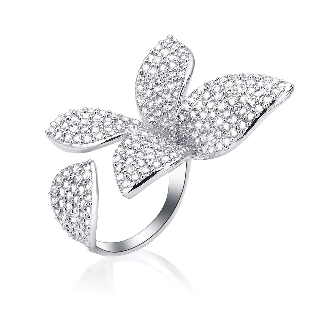 dnswez Two Finger Ring Flower Open Cubic Zirconia Sparkly CZ Silver Cluster Cocktails Enage Butterfly Statement Rings for Women Girl Adjustable Size 7-9 by dnswez