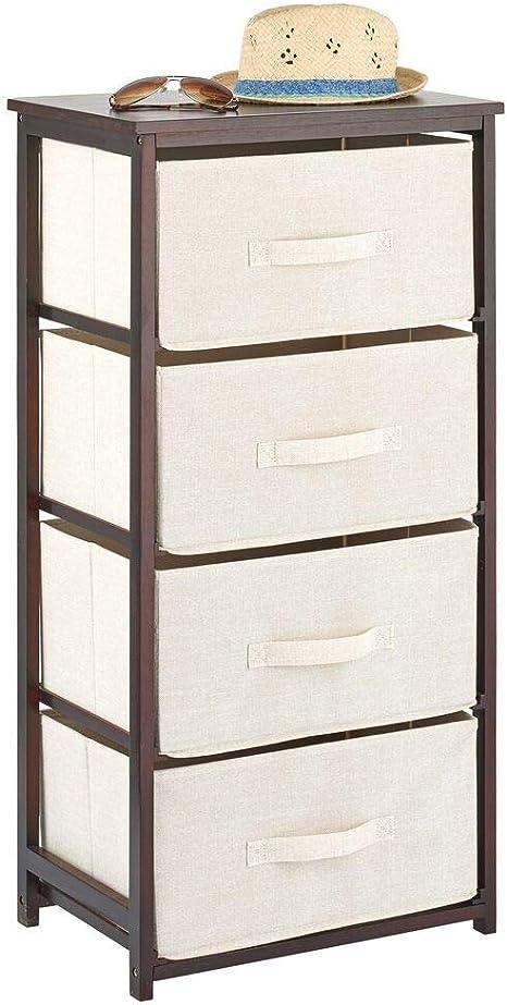5-Beige Drawer Organizer Vertical Dresser Storage Tower Wood Top Easy Pull Fabric Bins 4 Drawers