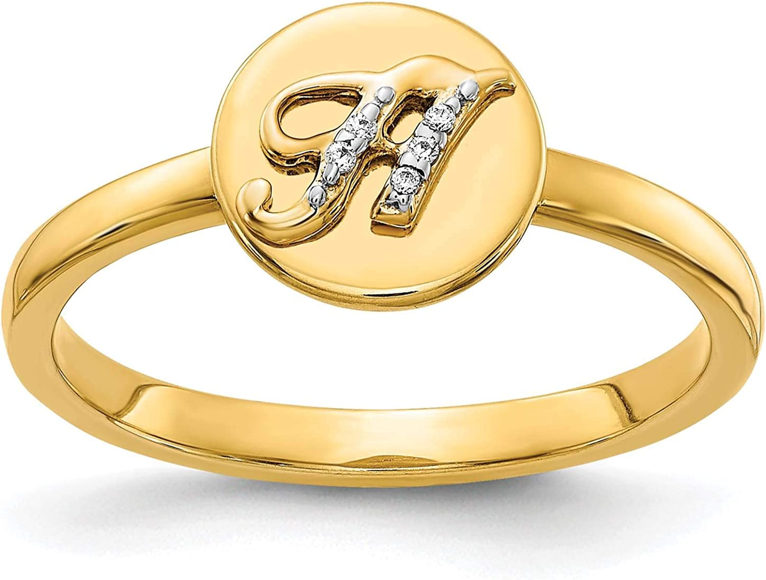 14k Yellow Gold w//Diamond Accent Initial Letter H Ring Size 7