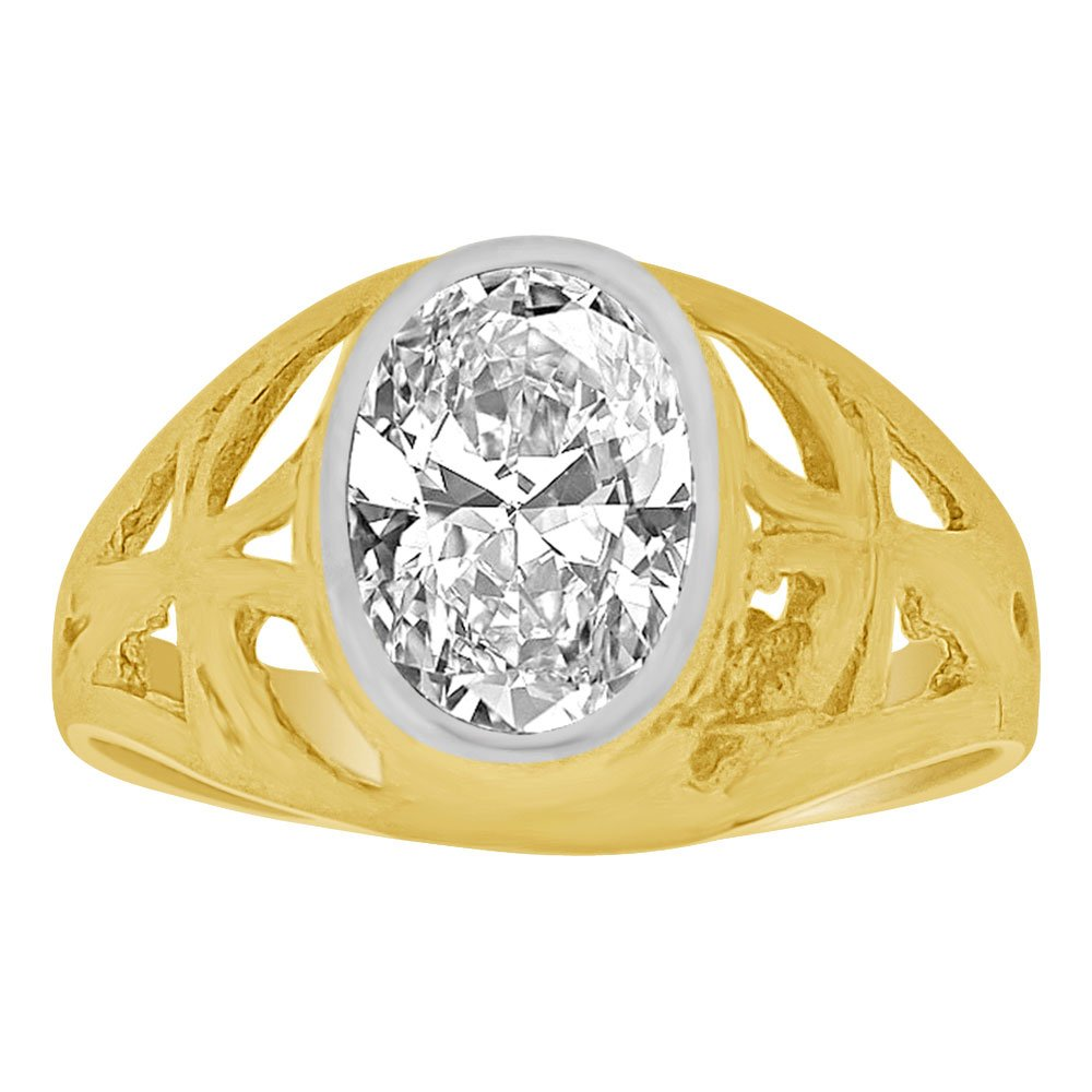 14k Yellow Gold, Small Size Child Ring Adult Pinky Ring Created Cubic Zirconia Crystal Cross Design