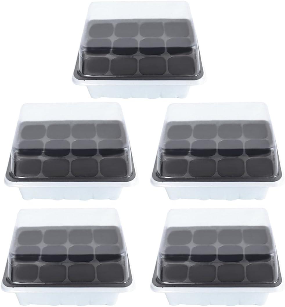 YAKOK Bandejas de Semilleros, 5 Piezas 12-Celda Semillero con Tapa Propagador Bandeja Germinador de Semillas Bandeja de Germinacion para Semillas (Blanco)