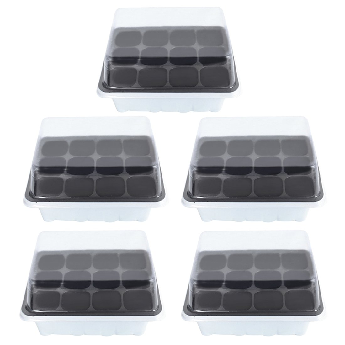 Seed Sprouter Tray, Petforu 5 Set 12-Cell Plant Germination Trays with Lid (White)