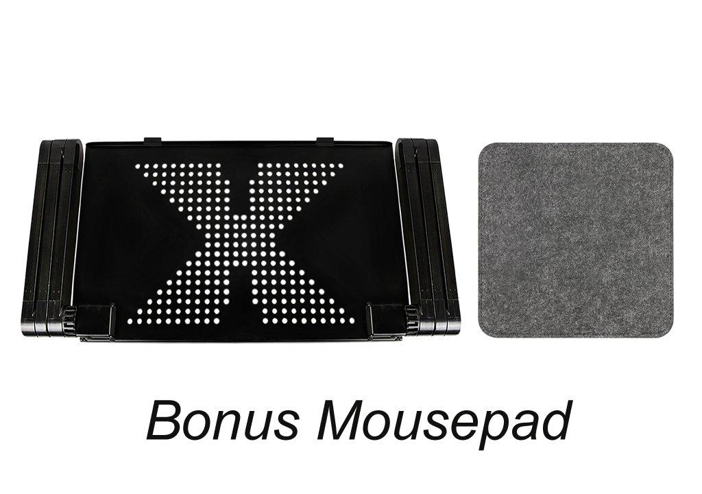 sul divano o sul tavolo come piano rialzato Nero per portatili tablet pieghevole e con piano girevole a 360/° Supporto ergonomico per lavorare a letto