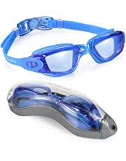 aegend Swim Goggles, Swimming Goggles No Leaking Anti Fog UV Protection Triathlon Swim Goggles with Free Protection Case for Adult Men Women Youth Kids Child, Multi-Choice