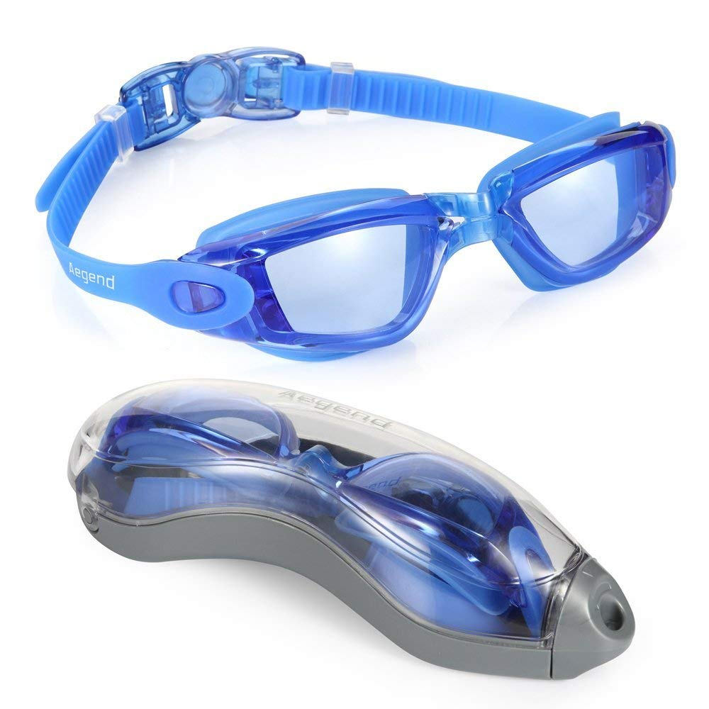 (02-Blue(Light Blue Lenses)) - Aegend Adult Competition Clear Anti Fog Racing Swim Goggles with UV Protection Free Protection Case for Men Women Youth Indoor Swimming Goggles Fog Resistant for Junior Children, Blue   B00X77YTS2
