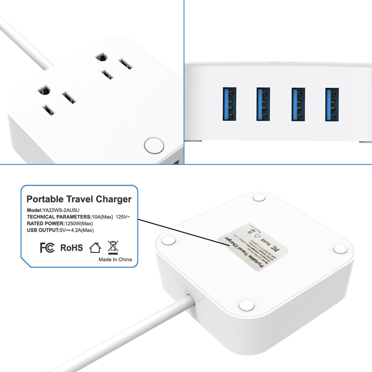 ❤ USB Extension Cord - Surge Protector Power Strip, Type-C Charging Port (5V/3A) & 4 USB Ports (5V/2.4A), Portable Travel Charger Station for iPhone iPad Samsung & Tablets, USB C Not for Laptops by HITRENDS (Image #4)