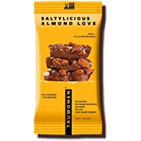 TRUWOMEN Plant Fueled Protein Bars, Saltylicious Almond Love (12 Count) | Non-GMO, Vegan, Gluten Free, Kosher, Soy Free, Dairy Free, Healthy Snack Bar, Natural Ingredients | 12g Protein