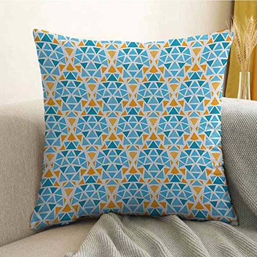 (FreeKite Yellow and Blue Microfiber Diamond Shaped Triangle Geometric Fractal Mosaic Traditional Motif Sofa Cushion Cover Bedroom car Decoration W24 x L24 Inch Aqua Teal Marigold)