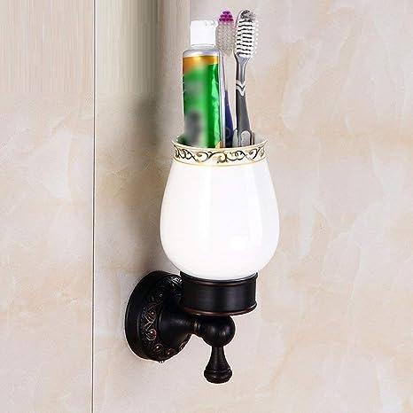 YUH Sostenedor de Taza Negro Antiguo Europeo del Cepillo de Dientes, Tenedor de Vaso Decorativo