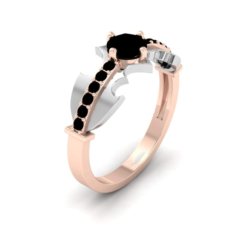 ArtLine Jewels 14K Two Tone Gold Plated Simulated Diamond & Studded Wedding & Engagement Batman Ring…