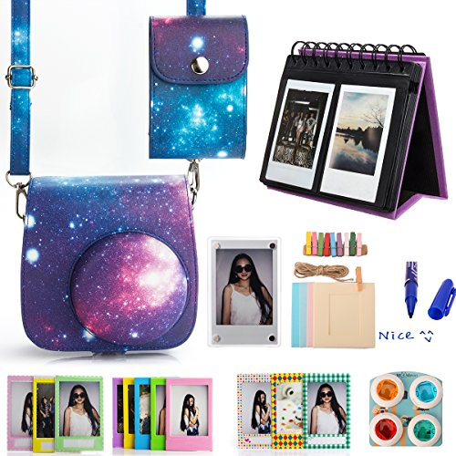 Woodmin 10-in-1 Instax Mini 8 Accessories Bundle Galaxy for Fuji Instant Mini 8 8+ Mini 9 (Camera case/ Albums/ Frames/ Film Stickers/ Filters/photo bag)