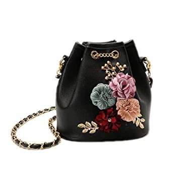 3623eb90282e Handmade Flowers Bucket Bags Shoulder Bags With Chain Drawstring Small Cross  Body Bags Pearl Bags Leaves