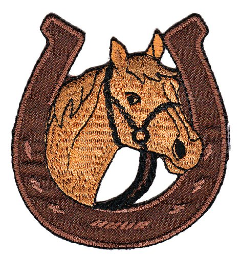 Brown Horse Lucky Horseshoe Farm Sew-on Iron-on Patches Kids Children Baby Embroidered Applique