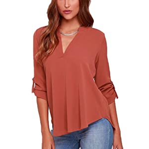 Womens Casual Chiffon Ladies V-Neck Cuffed Long Sleeve Blouse Tops (M, Brick Red)
