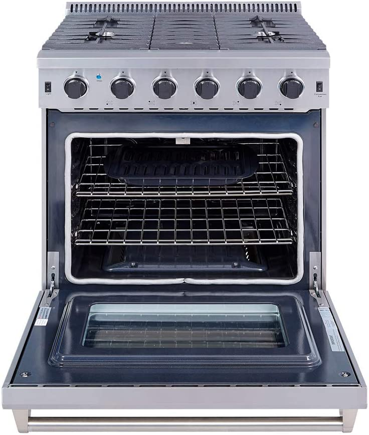 4 Burners Dual Fuel Range Gas Range Oven Oven Stainless Convection Oven Freestanding Pro-Style Gas Cooktop with 4.2 cu.ft 30 inch Cast-Iron Reversible Griddle /& Porcelain Oven Interior