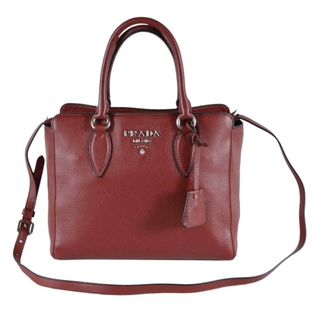 Prada Vitello Phenix Rubino Burgundy Small Crossbody Satchel Handbag