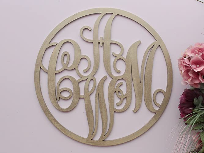 4 Letter Monogram - Circle Wood Monogram - Housewarming Gift: Amazon.ca: Handmade