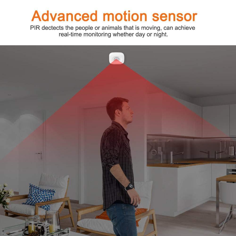 Eboxer WiFi Inteligente PIR Sensor de Detecci/ón de Movimiento de Seguridad Inal/ámbrica,Sensor de Alarma Antirrobo con Alerta de Emergencia Funci/ón de Inserci/ón Mediante la App de Tel/éfono