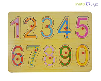 Instabuyz Numbers Premium Wooden Puzzle / Educational Toy with Knobs for Children ( 0 to 9 )