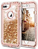 """JAKPAK iPhone 8 Plus Case, Shockproof Glitter Flowing Liquid Bling Sparkle Cover for Girl Woman Heavy Duty Full Body Protective Shell for 5.5"""" iPhone 8 Plus -Rose Gold"""