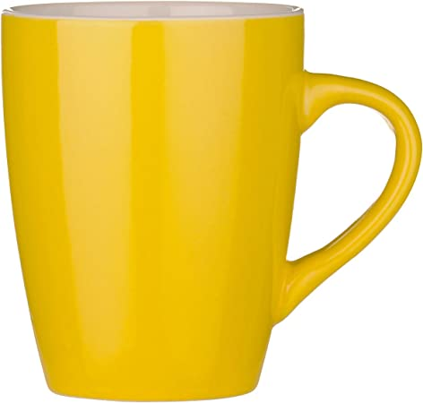 Yellow Lines Mugs Set of 6 Bone China Horizontal Vertical Stripes Mugs Hand UK