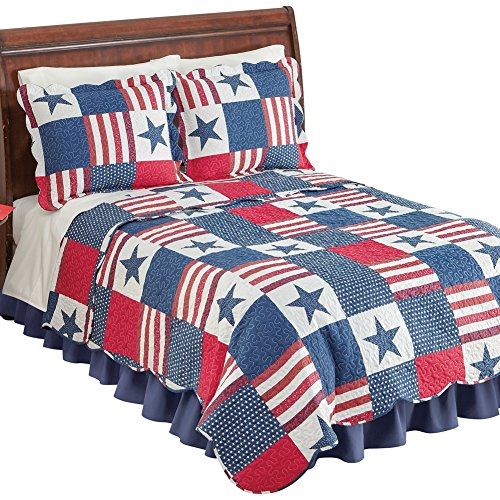 Collections Etc Americana Star Patchwork Quilt, ()