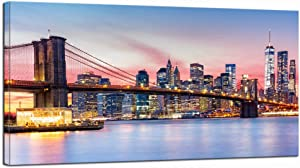 LevvArts - Brooklyn Bridge Wall Art Pink New York City Night View Pictures Poster Print Modern Manhattan Skyline Photo Cityscape Canvas Artwork for Living Room Office Wall Decoration Ready to Hang