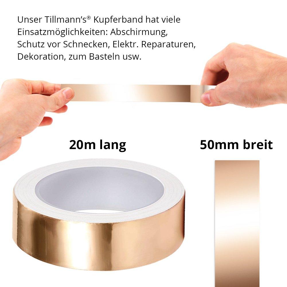 Kupferband 50mm x 20 m EMI Abschirmend gegen Schnecken Kupferfolie Kupferband Selbstklebend Klebeband Schneckenband von Tillmanns Deutschland/®
