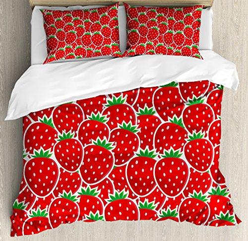 Fruits King Size Duvet Cover Set by Ambesonne, Strawberry Themed Botany Seeds Yummy Food Organic Growth Diet Health Print, Decorative 3 Piece Bedding Set with 2 Pillow Shams, Red Hunter Green by Ambesonne (Image #2)