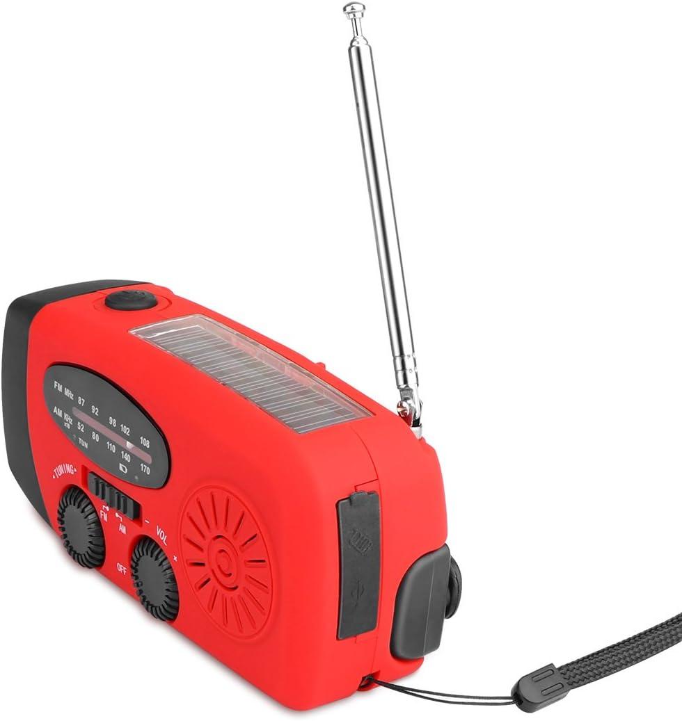 FM Radio mit Multifunktionale Not 3-LED Taschenlampe Telefon Ladeger/ät Leistung Bank Funktion Solar Angetrieben Radio Hand Kurbel Selbst Angetrieben AM