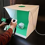"""【Version de mise à niveau】 LED Photo Studio Light Box, Tente portative portative portative Light avec accessoires de studio de photo à trous supérieurs par YIGER- 20PCS LED Lights + 4PCS background Tissu (noir blanc rouge vert) (16 """"X16"""" X16 """")"""