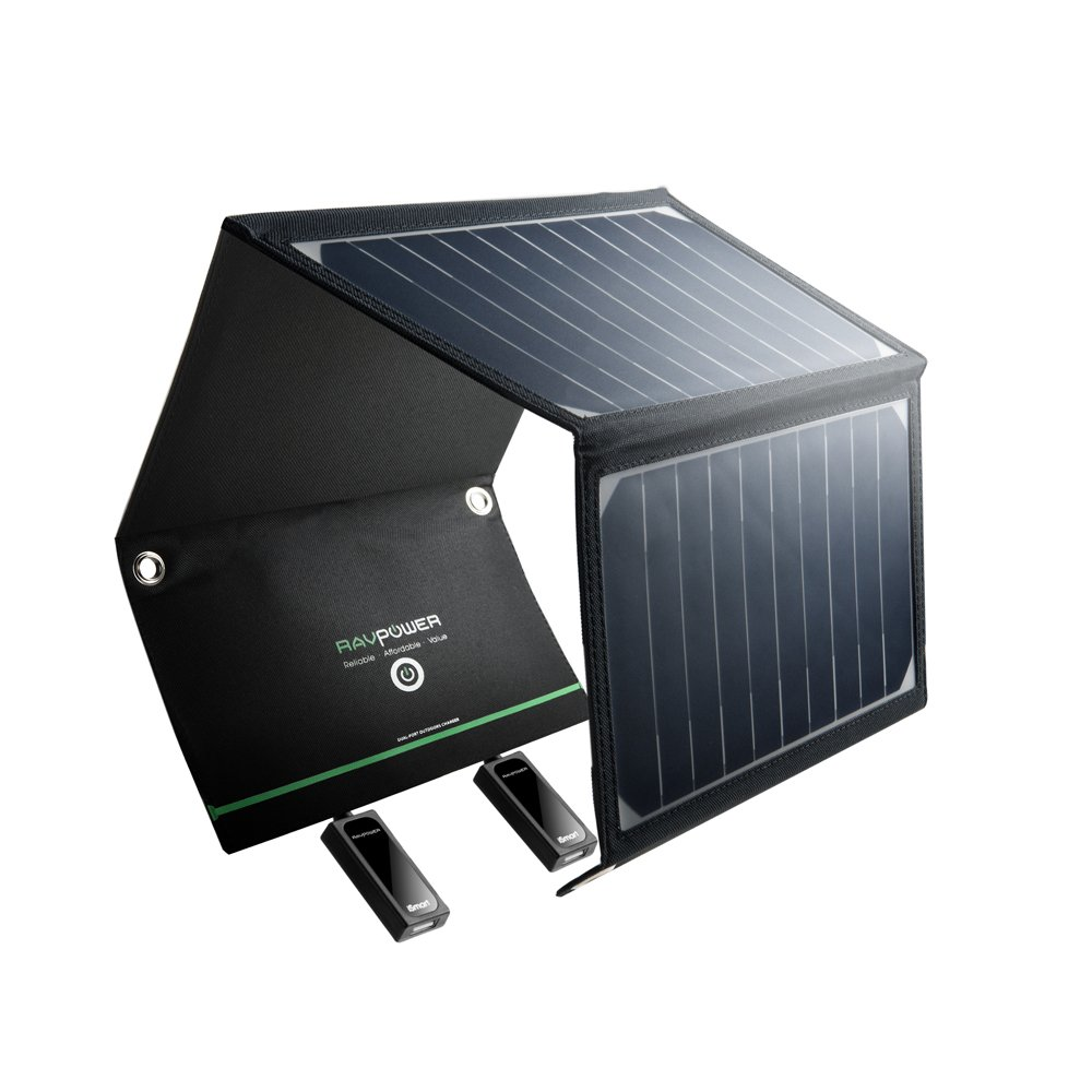 RAVPower Cargador Panel Solar 16W (Dual USB Puertos, Inteligente IC,...