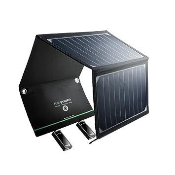 RAVPower Cargador Panel Solar 16W (Dual USB Puertos, Inteligente IC, A Prueba De Agua, En Acero Inoxidable) Placa Batería Plegable para Móviles, ...