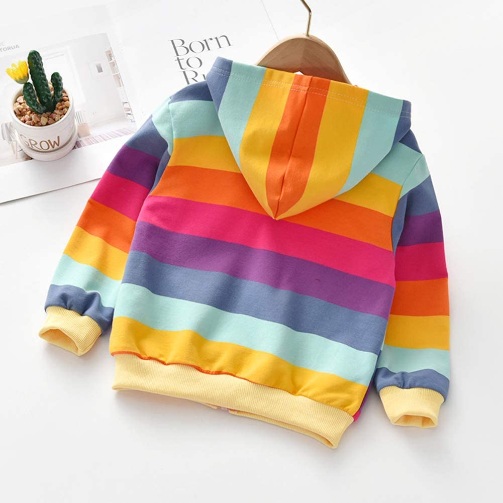 Gyratedream Autumn Baby Girl Outerwear Rainbow Striped Hoodie Zipper Sweatshirt Kids Coat Outfits Tops