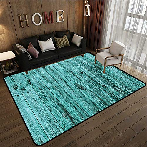 Indoor Outdoor Rugs,Turquoise Decor,Wall of Turquoise Wooden Texture Background Antique Timber Furniture Artful Print,Teal 35