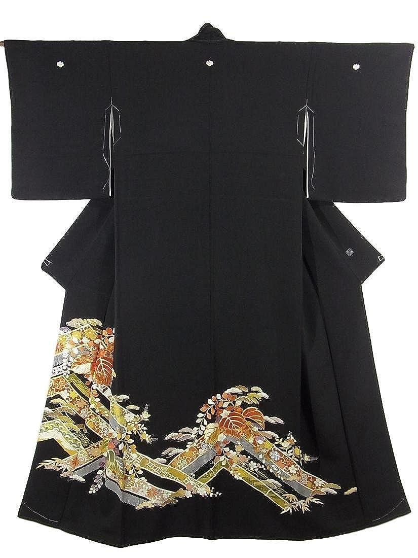 リサイクル 着物 黒留袖 竹取りに桐の花 千總 正絹 袷 裄66cm 身丈166cm B079TQ1152